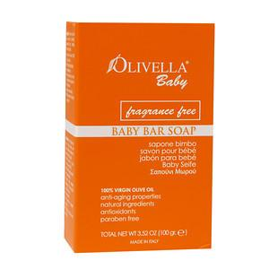 Olivella Baby Bar Soap -  Fragrance Free - Greenhouse Marketing (My Natural Choice)
