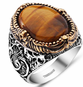 925 Silver Ring With Tiger's Eye - Size 23