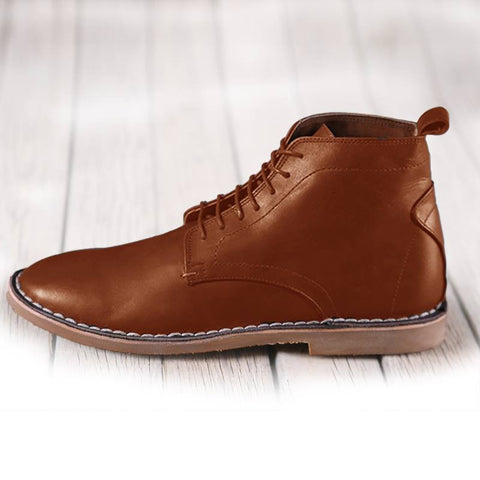 Leather high top shoes for men-1