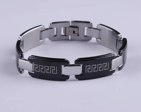 New Black Men's Stainless Steel Bracelet  Greek Design