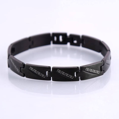 Black Greek Stainless Steel Bracelet Classic Great Wall