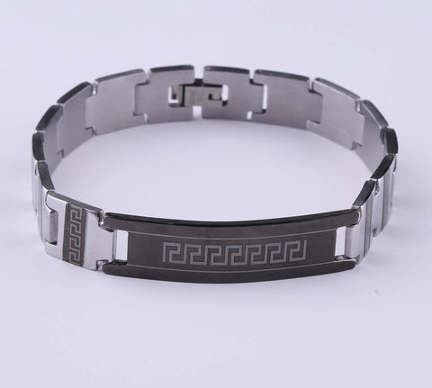 Greek Key Pattern Silver* Black Gun Stainless Steel Bracelet