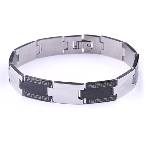 Black* Silver Punk Mens Stainless Steel Bracelet Classic Great Wall Wide