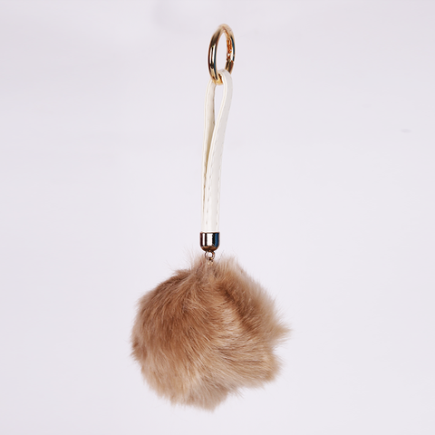 Keychains with fur- Beige