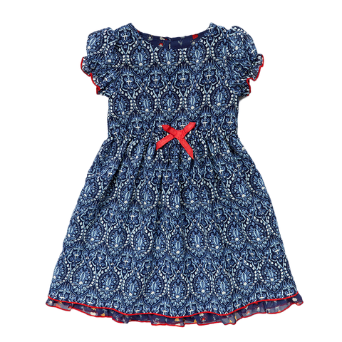 Navy*Red Casual Straight Dress For Girls