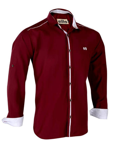 Elite Dark Red* White Cotton Shirt Neck Shirts For Men/ New