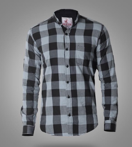 Hollister Long Sleeve Shirts for men Grey* Black