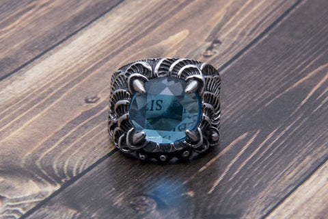 Blue AGATE TUNGSTEN, MEN, RING - ahlayn.com