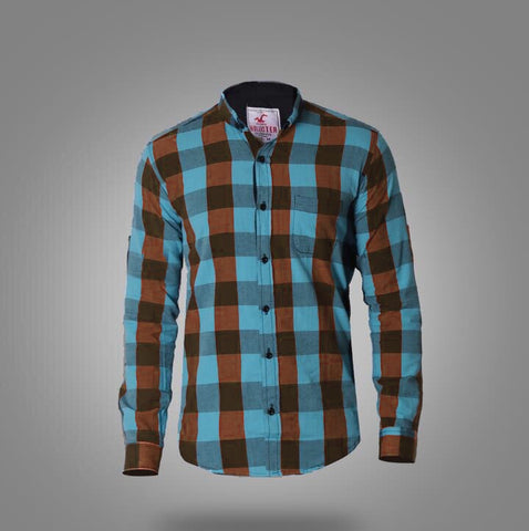 Hollister Long Sleeve Shirts for men Brown* Turquoise