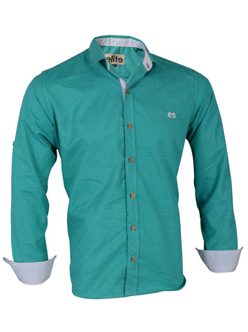Elite Green Cotton Shirt Neck Shirts For Men