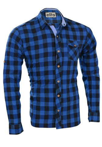 Elite Black*Blue Cotton Shirt Neck Shirts For Men