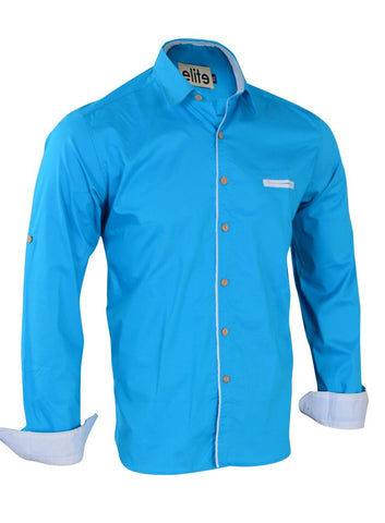 Elite Turquoise Cotton Shirt Neck Shirts For Men