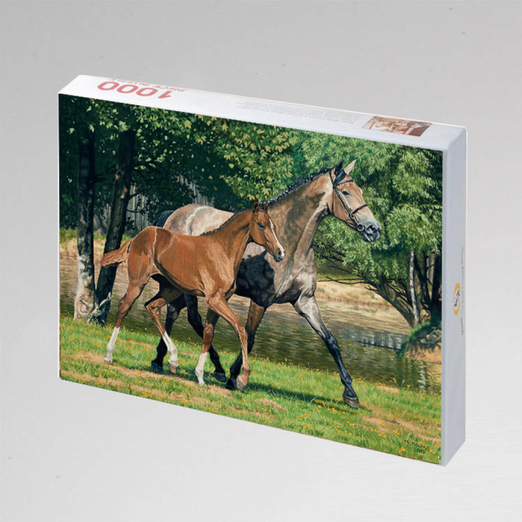 "NEW: Jigsaw Puzzle ""Trotting by the Lake"""