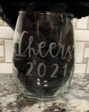 Cheers 2021 Wine Glass