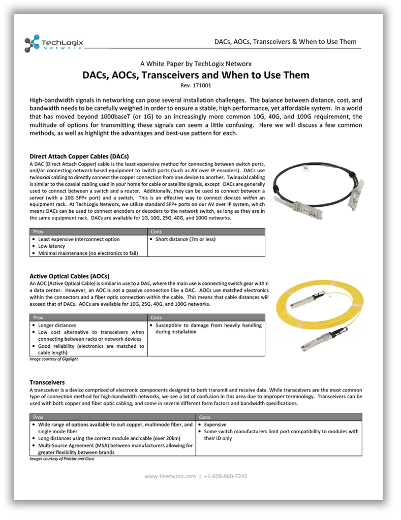 Whitepaper: DACs, AOCs, Transceivers and When to Use Them