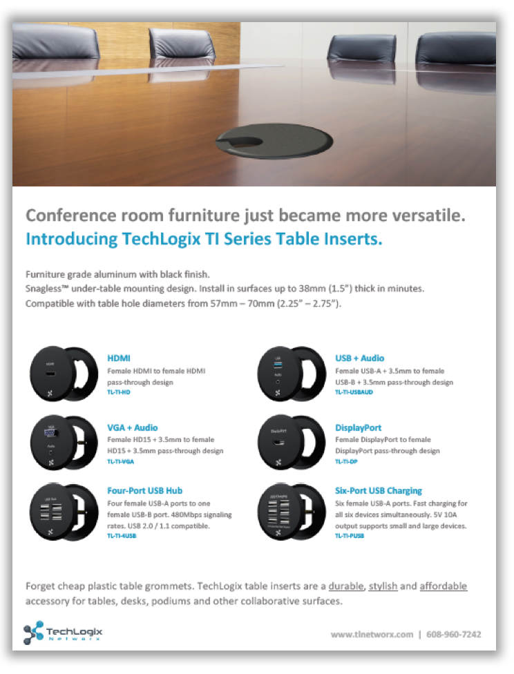 New TechLogix Brochure: TI Series Table Inserts
