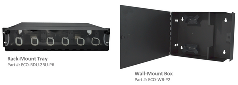 Fiber optic distribution panel options wallbox rack mount