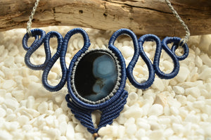 Onyx stone Macrame Necklace,   織途  , Om Ethnic Handicraft , macrame
