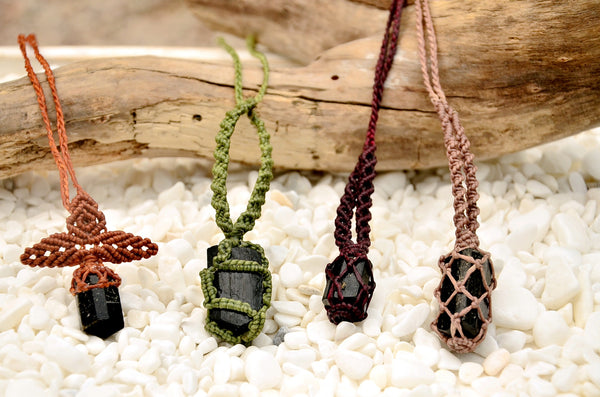 Tourmaline Stone Macrame Necklace