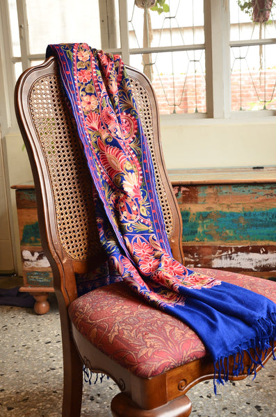 Jama Pure Pashmina Scarf / Stole, hand embroidered , handloom, Fairtrade