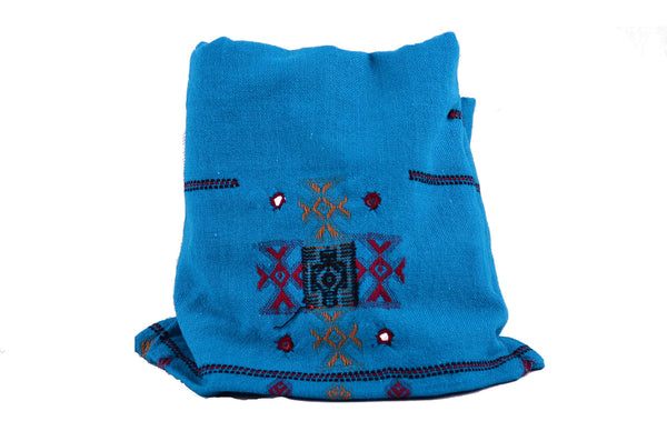 Handmade Embroidery Wool Winter scarf, Blue Bohemian Shawl