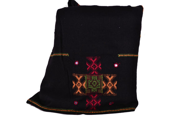 Handmade Black Embroidery Wool Winter scarf, Tibet Men Shawl, Yoga Accessories