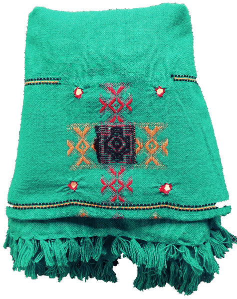 Handmade Embroidery Wool Winter scarf, Green Bohemian Shawl