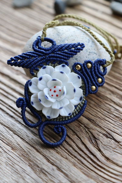 Lotus flower Ceramic Macrame Necklace