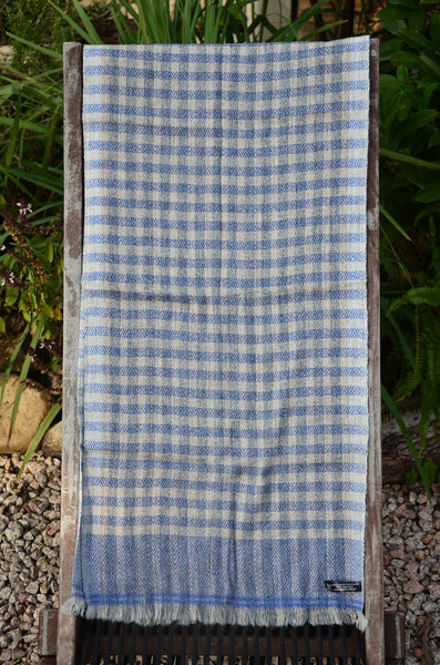 100% Cashmere Natural Thick Blue Muffler Scarf, Unisex Scarf, Fairtrade