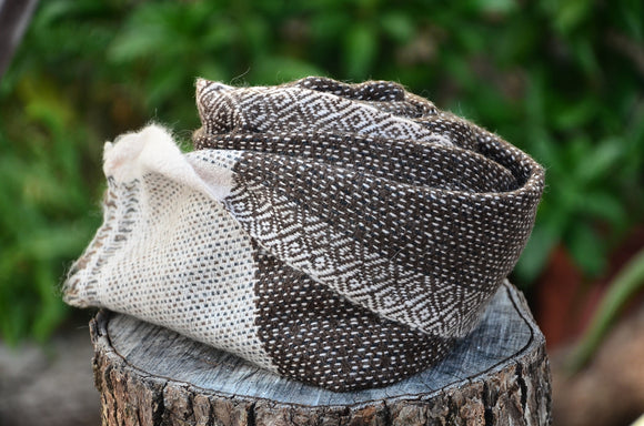 100% Cashmere Natural Brown Thick Muffler Scarf, Fairtrade,   織途  , Om Ethnic Handicraft , macrame