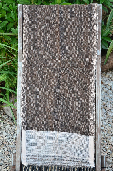 100% Cashmere Natural Brown Thick Muffler Scarf, Fairtrade