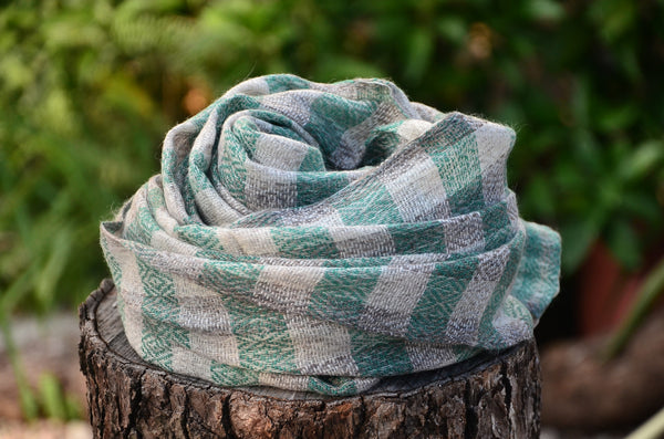 100% Cashmere Green Natural Check Scarf/Stole,  Fairtrade