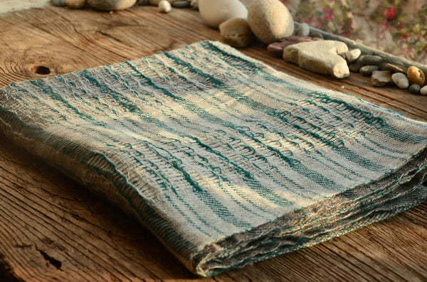 100% Cashmere Green Natural Scarf/Stole,  Fairtrade