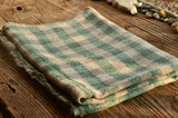 100% Cashmere Green Natural Check Scarf/Stole,  Fairtrade,   織途  , Om Ethnic Handicraft , macrame