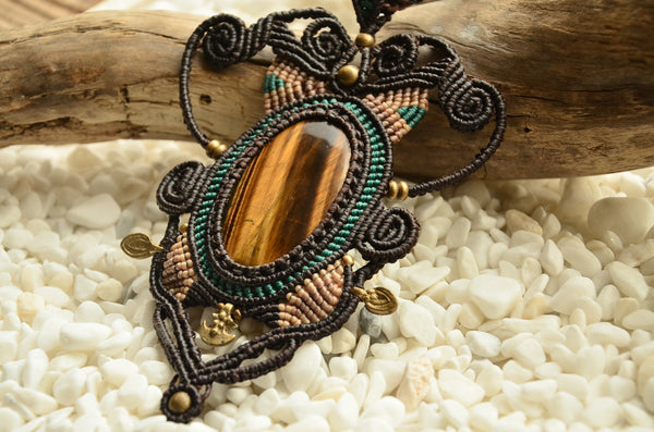 Tiger Eye Egypt Style Macrame Jewelry