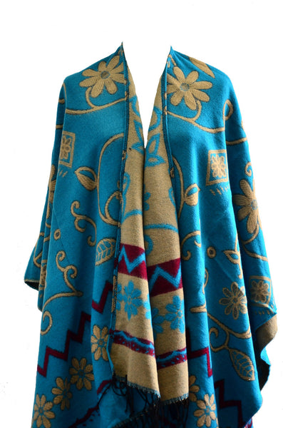 Handmade Tibetan Double Sided Flower Pattern Shawl/ Scarf