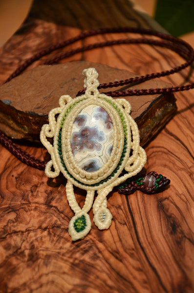 Crazy lace agate Macrame jewelry, Necklace