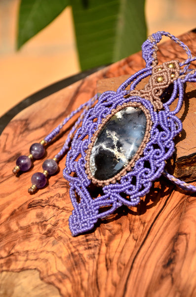Dendritic Agate Necklace , Macrame jewelry