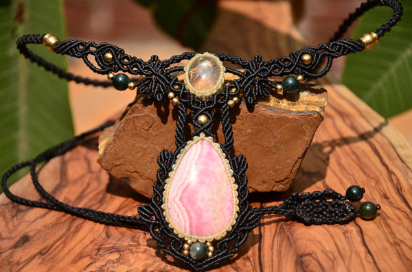 Rhodochrosite  Necklace , Macrame jewelry