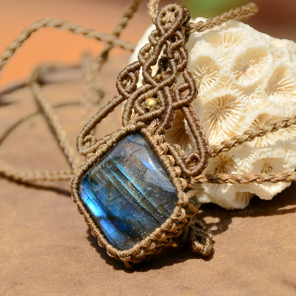 Labradorite Macrame Jewelry, necklace