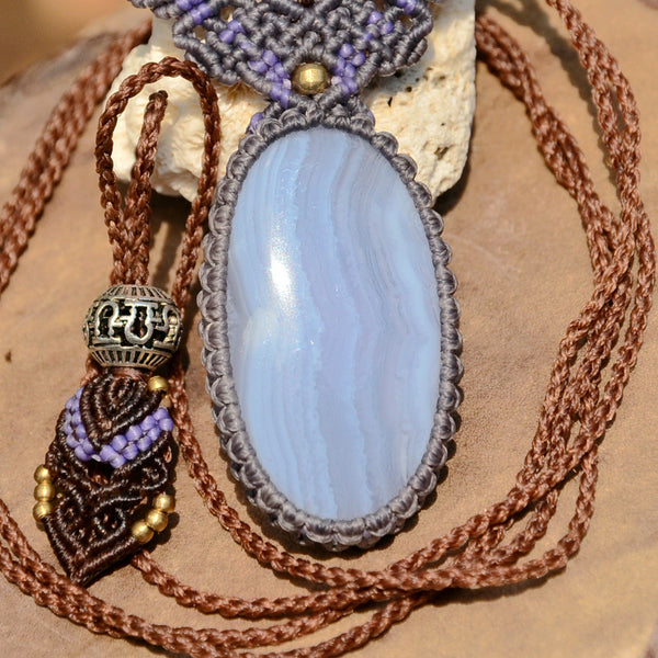 Blue Lace Agate Necklace ,Macrame jewelry