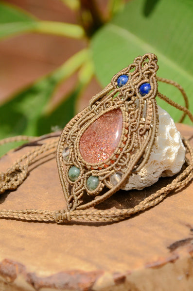 Sunstone Macrame Necklace , stone jewellery