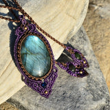 labradorite necklace, Macrame Jewelry,