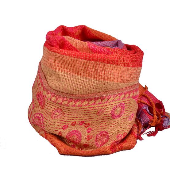 Handmade Orange 55% Pashmina scarf, Shawl Women, Nepal Scarf - Om Ethnic Handicraft