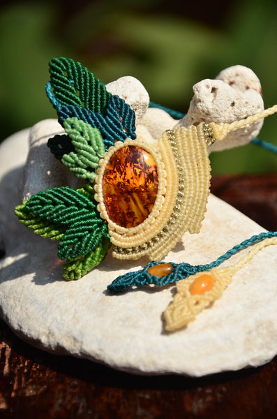 Amber necklace, Leaf Design Macrame jewelry