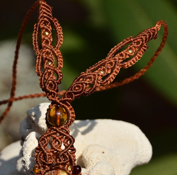 Raw Amber necklace, Macrame jewelry