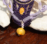 Sun Spangled Amber necklace, Macrame jewelry