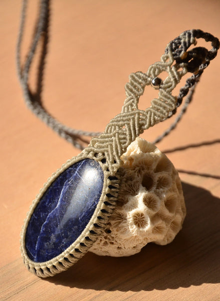 Sodalite necklace Macrame Jewelry necklace