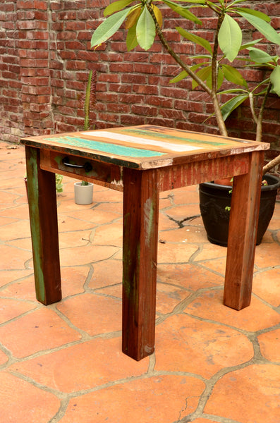 Reclaimed Wood Small Square coffee table with drawer, Furniture