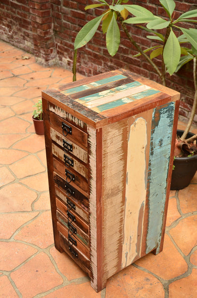 Reclaimed Wood Chest Drawer, Recycled Wood Furniture, 10 drawers